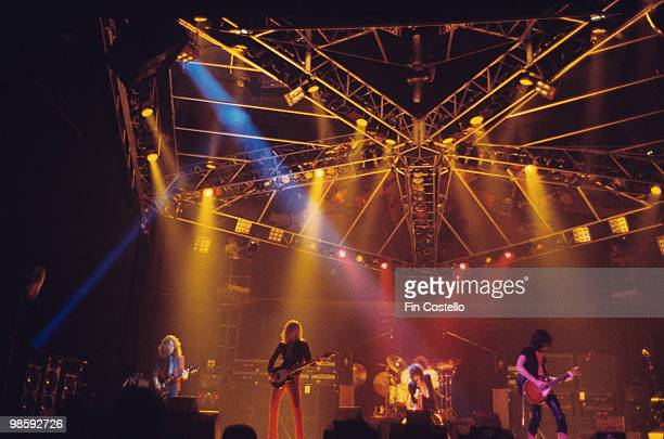 Brad Whitford Tom Hamilton Steven Tyler and Joe Perry of Aerosmith perform on stage at The Summit in Houston Texas on June 24 1976
