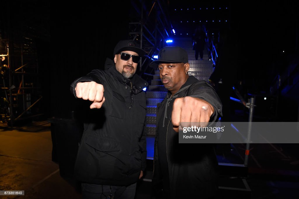 Brad Wilk and Chuck D backstage during the MTV EMAs 2017 held at The SSE Arena, Wembley on November 12, 2017 in London, England.