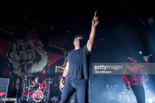 Brad Wilk of Rage Against The Machine Chuck D of Public Enemy and BReal of Cypress Hill perform as part of Prophets of Rage perform live on stage at...