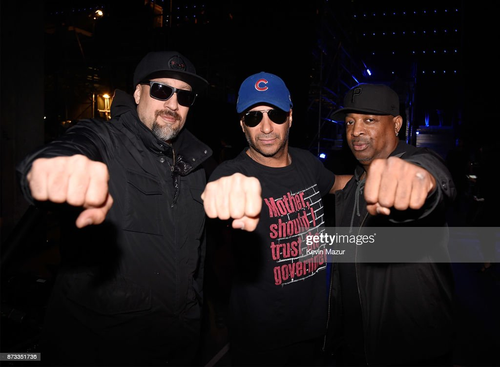 Brad Wilk, Tom Morello and Chuck D backstage during the MTV EMAs 2017 held at The SSE Arena, Wembley on November 12, 2017 in London, England.