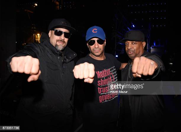 Brad Wilk Tom Morello and Chuck D backstage during the MTV EMAs 2017 held at The SSE Arena Wembley on November 12 2017 in London England