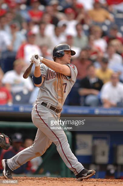Brad WIlkerson of the Washington Nationals gets a hit during a game against the Philadelphia Phillies at Citizens Bank Park in Philadelphia...
