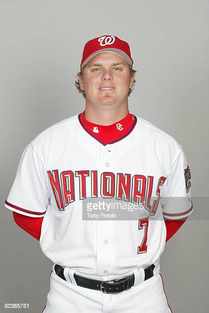 Brad Wilkerson of the Washington Nationals poses for a portrait during photo day at Space Coast Stadium on February 26 2005 in Viera Florida