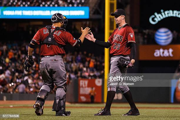 Brad Ziegler of the Arizona Diamondbacks celebrates with Welington Castillo after the game against the San Francisco Giants at ATT Park on April 20...