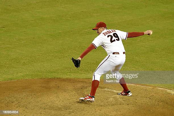 Brad Ziegler of the Arizona Diamondbacks delivers a pitch against the Los Angeles Dodgers at Chase Field on September 16 2013 in Phoenix Arizona