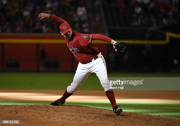 Brad Ziegler of the Arizona Diamondbacks delivers a pitch against the Oakland Athletics at Chase Field on August 30 2015 in Phoenix Arizona