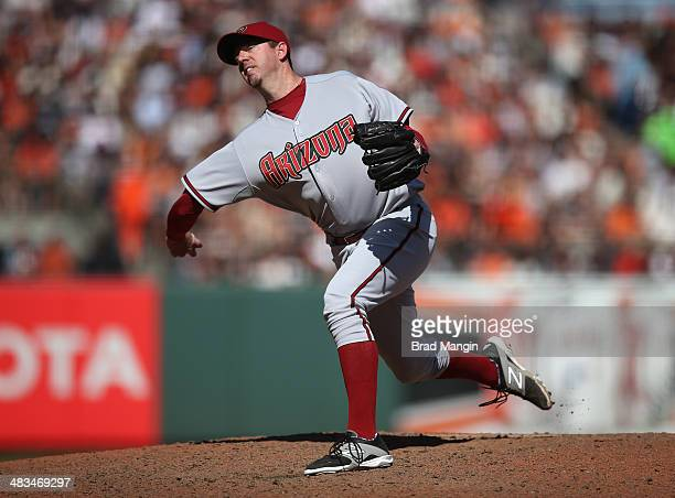 Brad Ziegler of the Arizona Diamondbacks pitches against the San Francisco Giants during the game at ATT Park on Tuesday April 8 2014 in San...