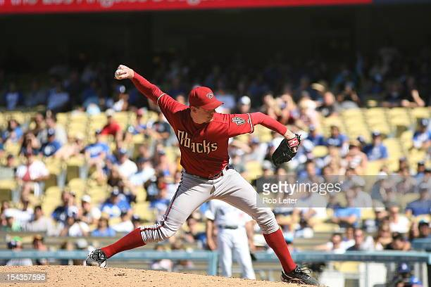 Brad Ziegler of the Arizona Diamondbacks pitches during the game against the Los Angeles Dodgers September 2 2012 at Dodger Stadium in Los Angeles...