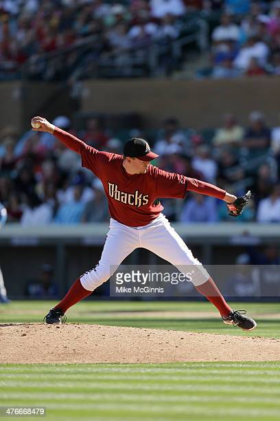 Brad Ziegler of the Arizona Diamondbacks pitches during the game against the Los Angeles Dodgers at Salt River Fields at Talking Stick on February 26...
