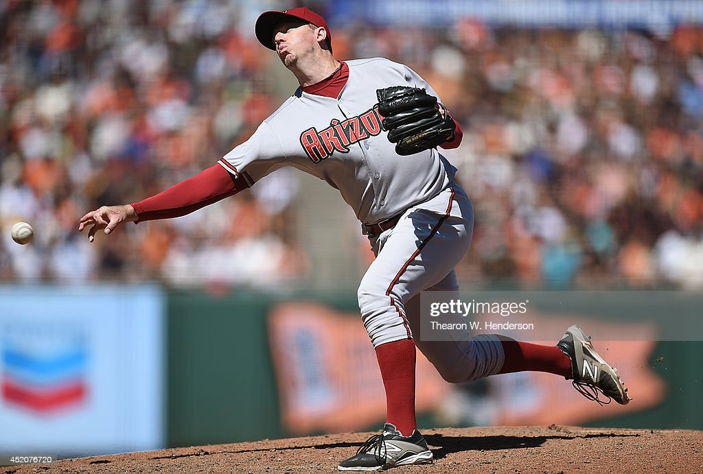 Brad Ziegler #29 of the Arizona Diamondbacks pitches in the bottom of the eighth inning against the San Francisco Giants at AT&T Park on July 12, 2014 in San Francisco, California.