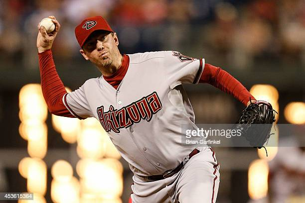 Brad Ziegler of the Arizona Diamondbacks throws a pitch during the game against the Philadelphia Phillies at Citizens Bank Park on July 26 2014 in...