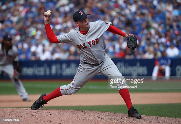 Brad Ziegler of the Boston Red Sox delivers a pitch in the sixth inning during MLB game action against the Toronto Blue Jays on September 11 2016 at...
