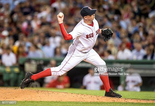 Brad Ziegler of the Boston Red Sox delivers during the eighth inning of a game against the San Francisco Giants on July 19 2016 at Fenway Park in...
