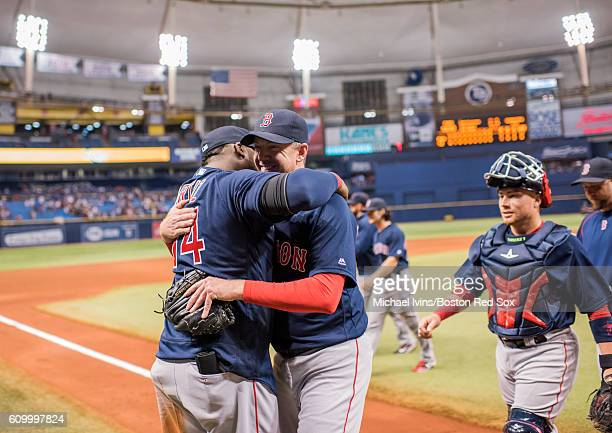 Brad Ziegler of the Boston Red Sox is hugged by David Ortiz after closing out a 21 win over the Tampa Bay Rays on September 23 2016 at Tropicana...