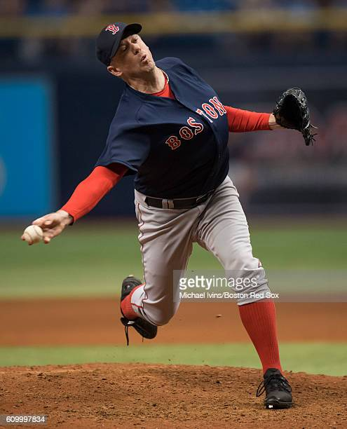 Brad Ziegler of the Boston Red Sox pitches against the Tampa Bay Rays in the ninth inning on September 23 2016 at Tropicana Field in St Petersburg...