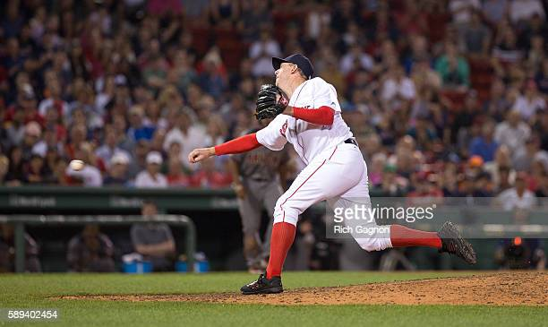 Brad Ziegler of the Boston Red Sox pitches during the eighth inning against the Arizona Diamondbacks at Fenway Park on August 13 2016 in Boston...