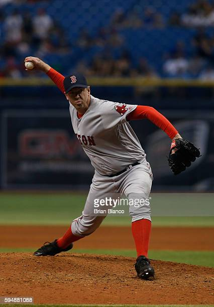 Brad Ziegler of the Boston Red Sox pitches during the eighth inning of a game against the Tampa Bay Rays on August 24 2016 at Tropicana Field in St...