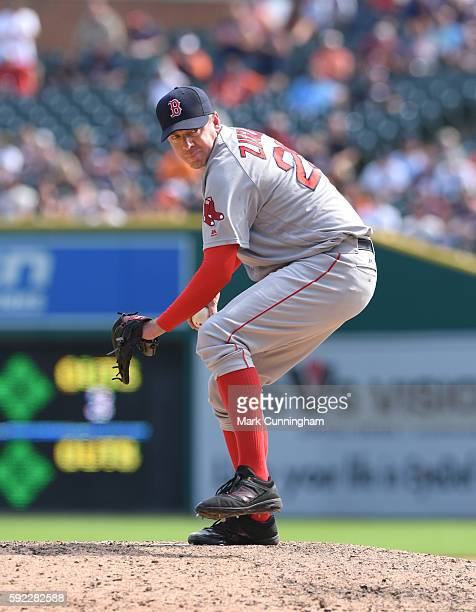 Brad Ziegler of the Boston Red Sox pitches during the game against the Detroit Tigers at Comerica Park on August 18 2016 in Detroit Michigan The...
