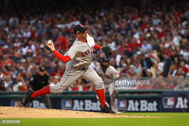 Brad Ziegler of the Boston Red Sox throws a pitch in the sixth inning against the Cleveland Indians during game two of the American League Divison...