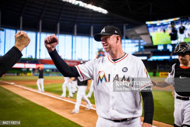 Brad Ziegler of the Miami Marlins after the game against the San Francisco Giants at Marlins Park on August 16 2017 in Miami Florida