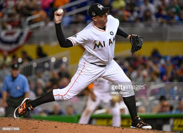 Brad Ziegler of the Miami Marlins in action during the game against the New York Mets at Marlins Park on April 13 2017 in Miami Florida