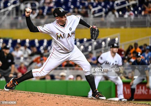 Brad Ziegler of the Miami Marlins in action during the game between the Miami Marlins and the Tampa Bay Rays at Marlins Park on May 1 2017 in Miami...
