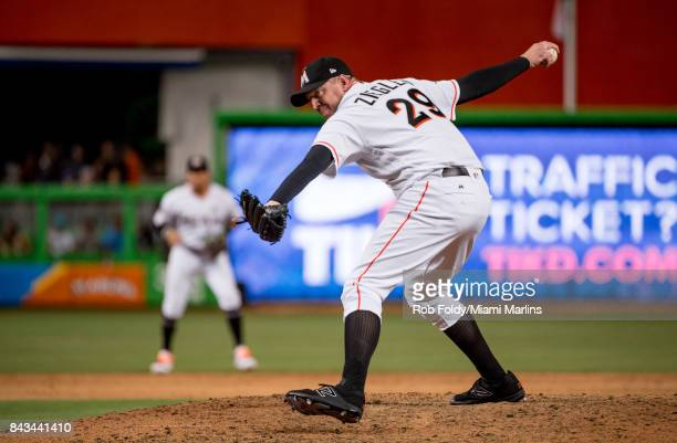 Brad Ziegler of the Miami Marlins pitches during the game against the Colorado Rockies at Marlins Park on August 11 2017 in Miami Florida
