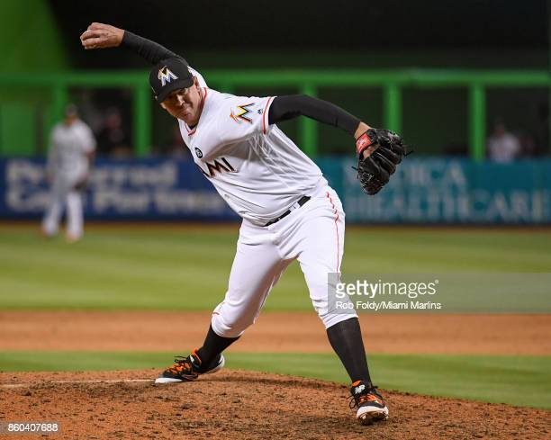 Brad Ziegler of the Miami Marlins pitches during the game against the New York Mets at Marlins Park on April 13 2017 in Miami Florida