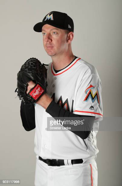 Brad Ziegler of the Miami Marlins poses for a portrait at The Ballpark of the Palm Beaches on February 22 2018 in Jupiter Florida