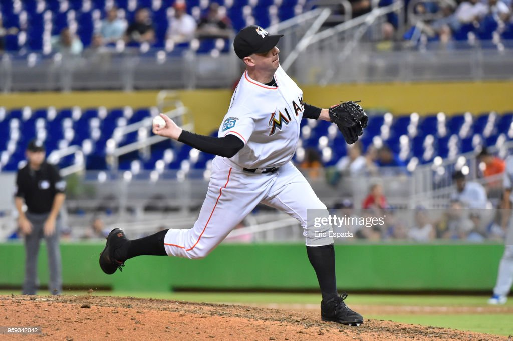 Brad Ziegler #29 of the Miami Marlins throws a pitch during the ninth inning against the Los Angeles Dodgers at Marlins Park on May 16, 2018 in Miami, Florida.
