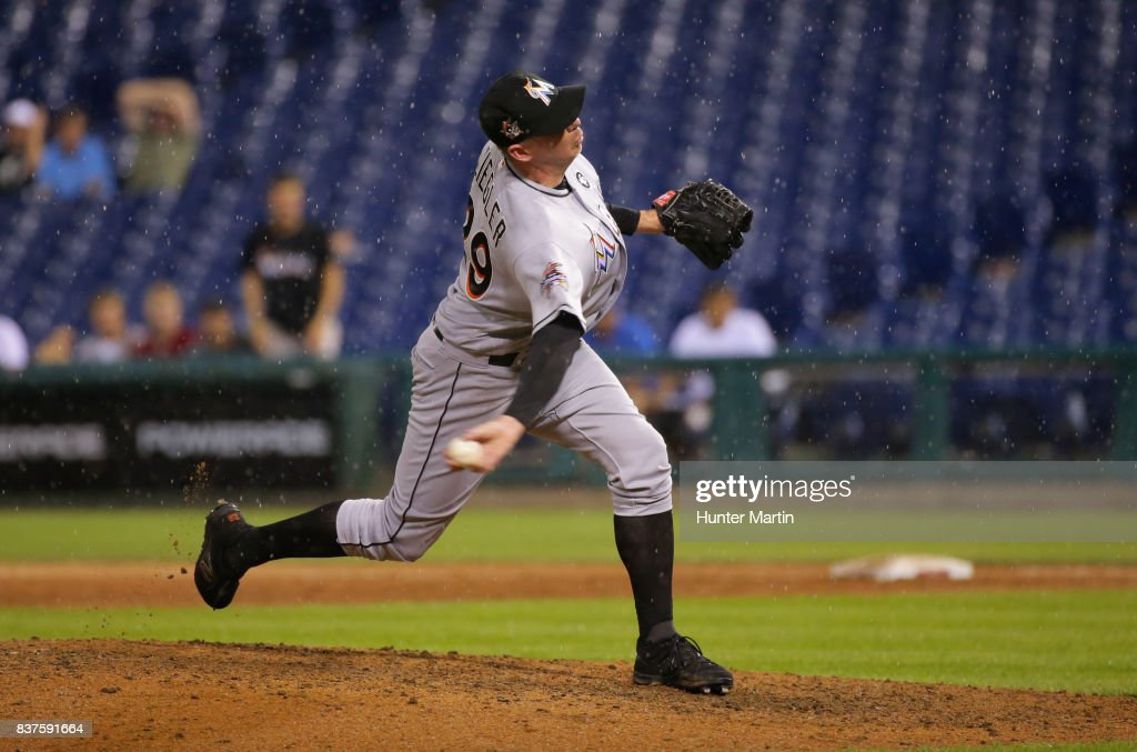 Brad Ziegler #29 of the Miami Marlins throws a pitch in the ninth inning during game two of a doubleheader against the Philadelphia Phillies at Citizens Bank Park on August 22, 2017 in Philadelphia, Pennsylvania. The Marlins won 7-4.