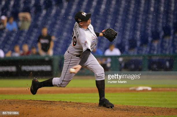 Brad Ziegler of the Miami Marlins throws a pitch in the ninth inning during game two of a doubleheader against the Philadelphia Phillies at Citizens...