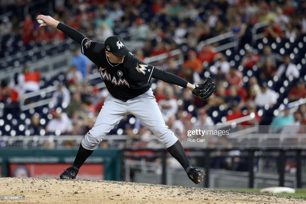 Brad Ziegler #29 of the Miami Marlins throws to a Washington Nationals batter in the ninth inning of the Marlins 7-3 win over the Washington Nationals at Nationals Park on August 8, 2017 in Washington, DC.