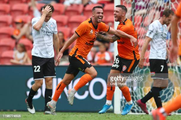 Bradden Inman of the Roar celebrates a goal during the round 14 ALeague match between the Brisbane Roar and Melbourne City at Suncorp Stadium on...