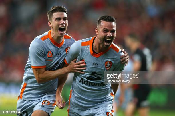 Bradden Inman of the Roar celebrates scoring a goal during the round 13 ALeague match between the Western Sydney Wanderers and the Brisbane Roar at...