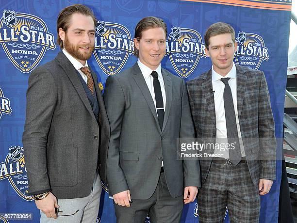 Braden Holtby Nicklas Backstrom and Evgeny Kuznetsov of the Washington Capitals arrive for the 2016 NHL AllStar Game Festivities at Bridgestone Arena...