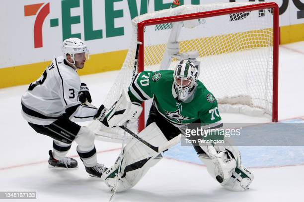Braden Holtby of the Dallas Stars blocks a shot on goal against Matt Roy of the Los Angeles Kings in the overtime period at American Airlines Center...