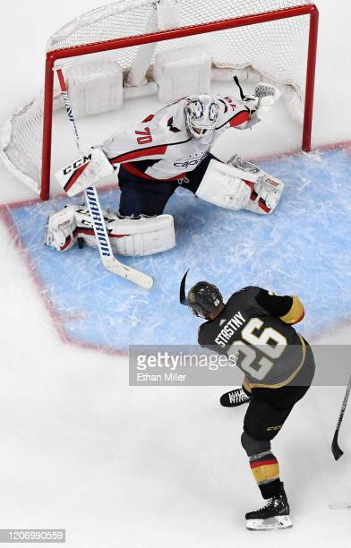 Braden Holtby of the Washington Capitals blocks a shot by Paul Stastny of the Vegas Golden Knights in the third period of their game at TMobile Arena...