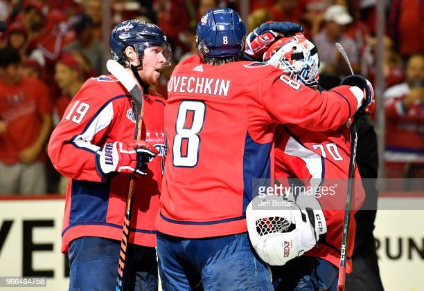 Braden Holtby of the Washington Capitals celebrates with teammates after defeating the Vegas Golden Knights in Game Three of the Stanley Cup Final...