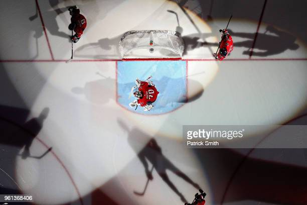 Braden Holtby of the Washington Capitals is introduced before playing against the Tampa Bay Lightning in Game Six of the Eastern Conference Finals...