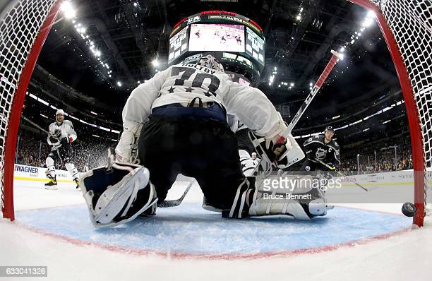 Braden Holtby of the Washington Capitals is unable to make a save during the 2017 Honda NHL AllStar Tournament Final between the Pacific Division...