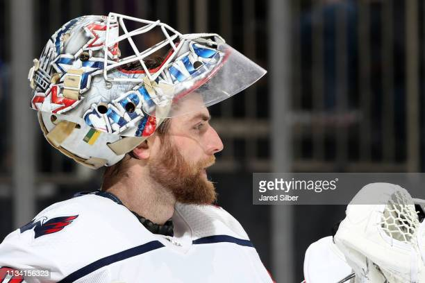 Braden Holtby of the Washington Capitals looks on against the New York Rangers at Madison Square Garden on March 3 2019 in New York City