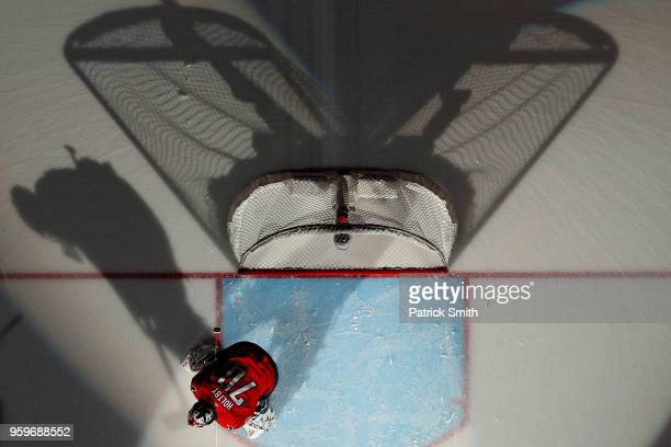Braden Holtby of the Washington Capitals looks on before playing against the Tampa Bay Lightning in Game Four of the Eastern Conference Finals during...