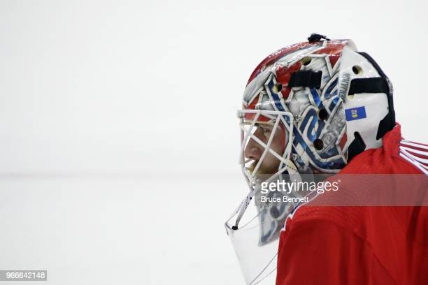 Braden Holtby of the Washington Capitals looks on prior to Game Three of the 2018 NHL Stanley Cup Final against the Vegas Golden Knights at Capital...