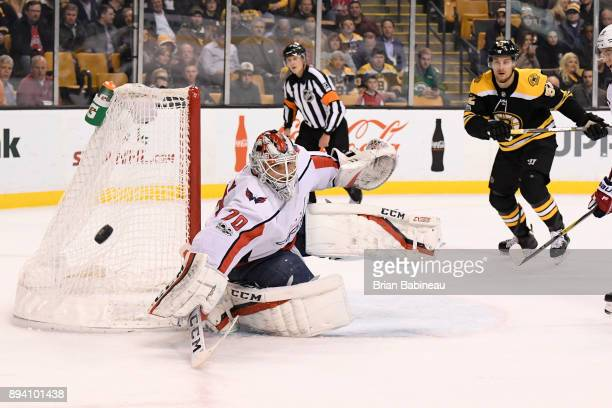 Braden Holtby of the Washington Capitals makes a save against the Boston Bruins at the TD Garden on December 14 2017 in Boston Massachusetts