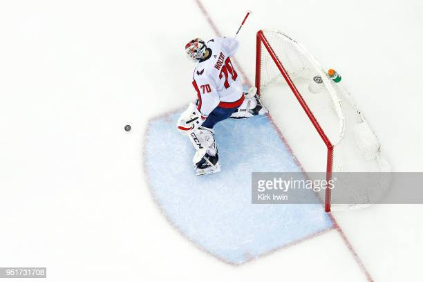 Braden Holtby of the Washington Capitals makes a save in Game Six of the Eastern Conference First Round during the 2018 NHL Stanley Cup Playoffs...