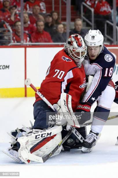 Braden Holtby of the Washington Capitals makes a save on a shot by PierreLuc Dubois of the Columbus Blue Jackets in the third period during Game Two...