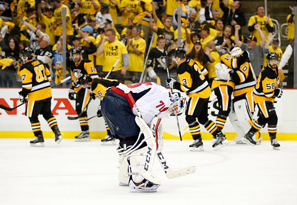 Braden Holtby of the Washington Capitals reacts after losing to the Pittsburgh...