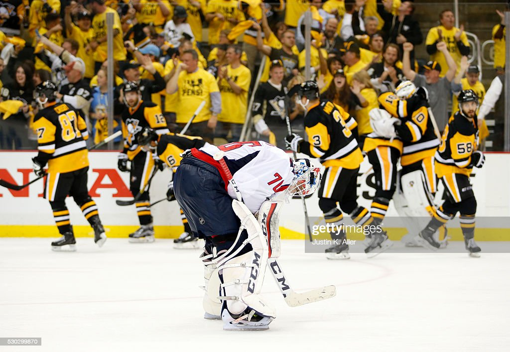 Braden Holtby #70 of the Washington Capitals reacts after losing to the Pittsburgh Penguins in overtime 4-3 in Game Six of the Eastern Conference Second Round during the 2016 NHL Stanley Cup Playoffs at Consol Energy Center on May 10, 2016 in Pittsburgh, Pennsylvania.