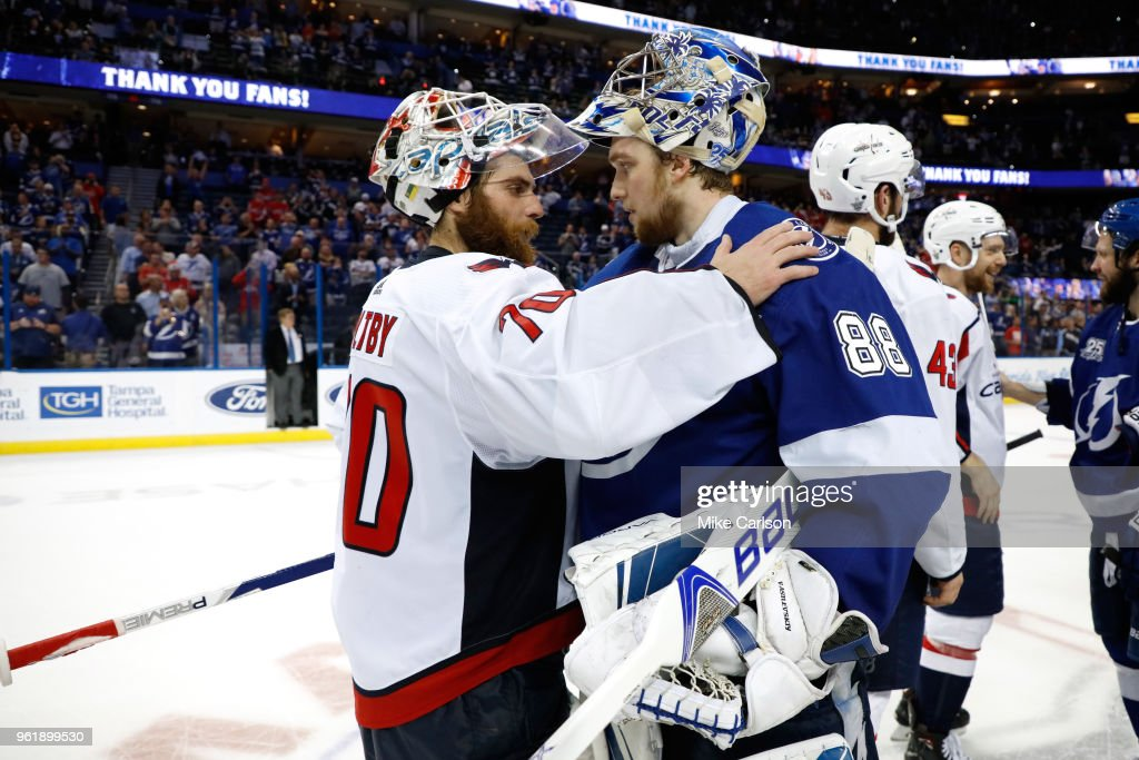 Braden Holtby #70 of the Washington Capitals shakes hands with Andrei Vasilevskiy #88 of the Tampa Bay Lightning after Game Seven of the Eastern Conference Finals during the 2018 NHL Stanley Cup Playoffs at Amalie Arena on May 23, 2018 in Tampa, Florida. The Washington Capitals defeated the Tampa Bay Lightning with a score of 4 to 0.
